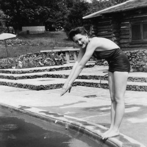 Vintage Photo Of A Woman At The Pool