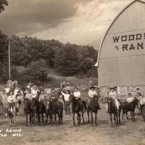Vintage Picture Of People On Horses At The Ranch